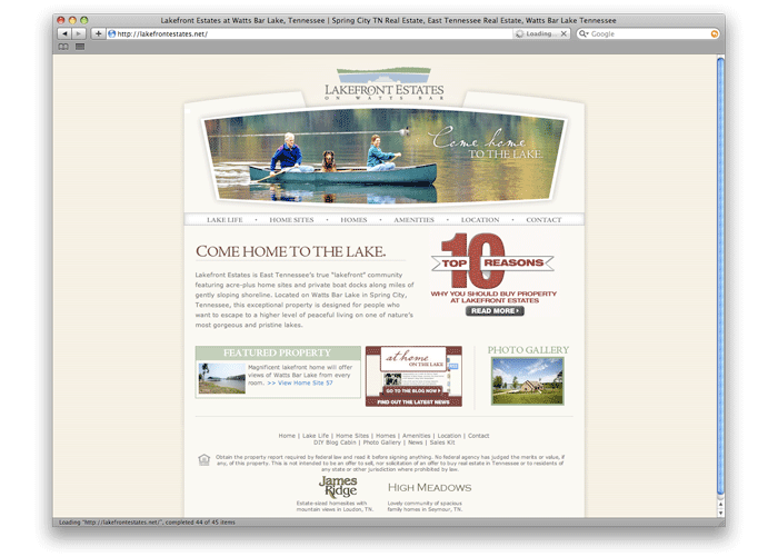 Lakefront Estates Web